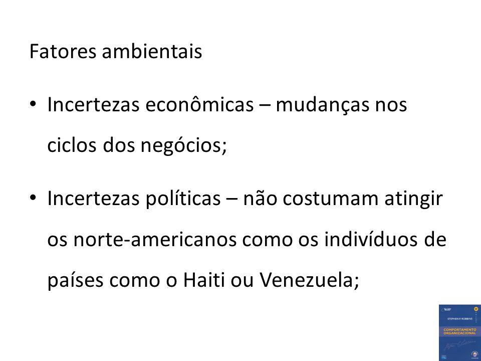 Fatores ambientais Incertezas econômicas – mudanças nos ciclos dos negócios; Incertezas políticas – não costumam atingir os norte-americanos como os indivíduos de países como o Haiti ou Venezuela;
