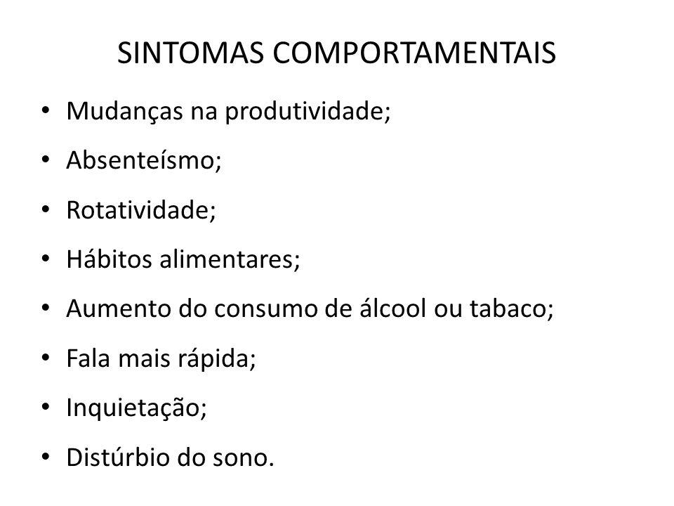 SINTOMAS COMPORTAMENTAIS Mudanças na produtividade; Absenteísmo; Rotatividade; Hábitos alimentares; Aumento do consumo de álcool ou tabaco; Fala mais