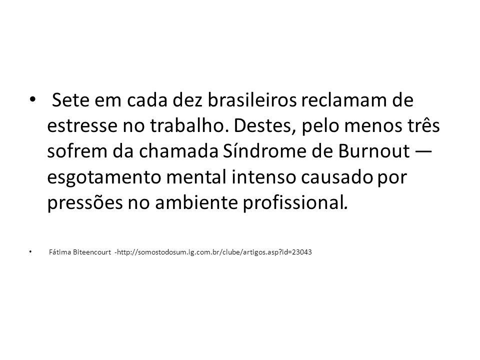 Sete em cada dez brasileiros reclamam de estresse no trabalho. Destes, pelo menos três sofrem da chamada Síndrome de Burnout esgotamento mental intens