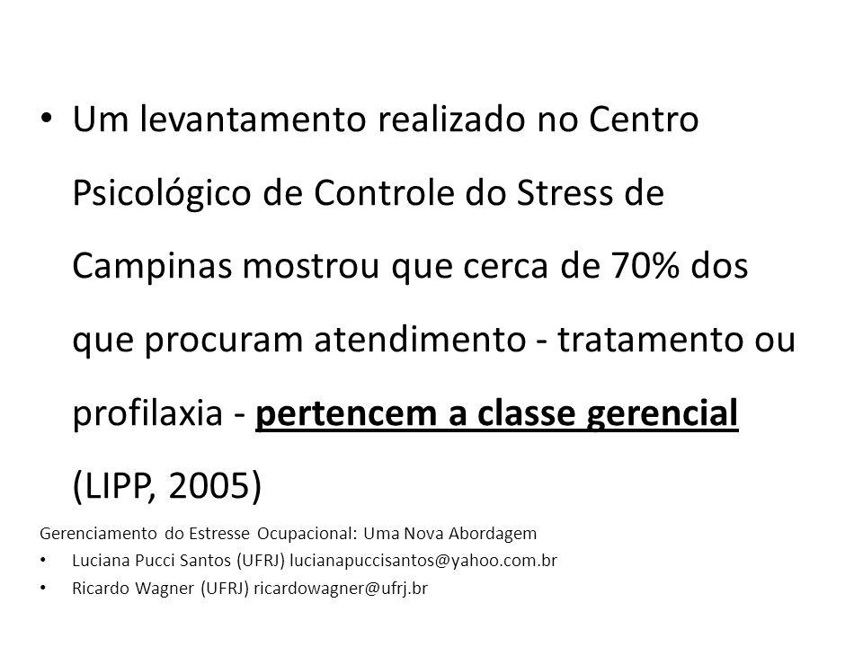 Um levantamento realizado no Centro Psicológico de Controle do Stress de Campinas mostrou que cerca de 70% dos que procuram atendimento - tratamento ou profilaxia - pertencem a classe gerencial (LIPP, 2005) Gerenciamento do Estresse Ocupacional: Uma Nova Abordagem Luciana Pucci Santos (UFRJ) lucianapuccisantos@yahoo.com.br Ricardo Wagner (UFRJ) ricardowagner@ufrj.br