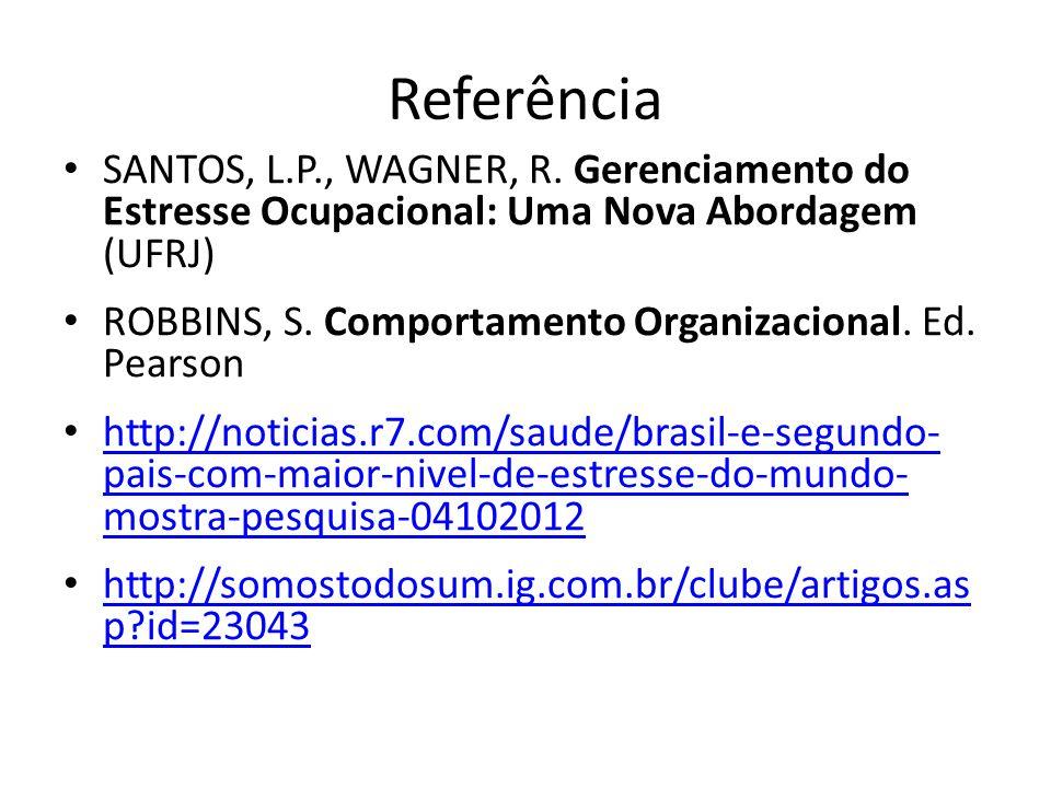 Referência SANTOS, L.P., WAGNER, R. Gerenciamento do Estresse Ocupacional: Uma Nova Abordagem (UFRJ) ROBBINS, S. Comportamento Organizacional. Ed. Pea