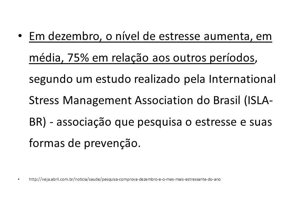 Em dezembro, o nível de estresse aumenta, em média, 75% em relação aos outros períodos, segundo um estudo realizado pela International Stress Management Association do Brasil (ISLA- BR) - associação que pesquisa o estresse e suas formas de prevenção.
