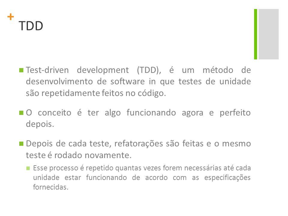 + TDD Utilizando TDD, pode-se produzir aplicações com alta qualidade em menos tempo do que é possível com outros métodos.