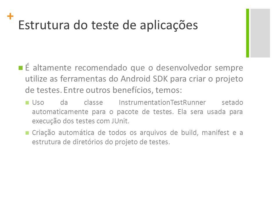 + Estrutura do teste de aplicações O projeto de teste pode ser criado em qualquer diretório da máquina de desenvolvimento, mas uma boa prática é adicionar o projeto (com a pasta raiz tests/) no mesmo nível da pasta src/ da aplicação.
