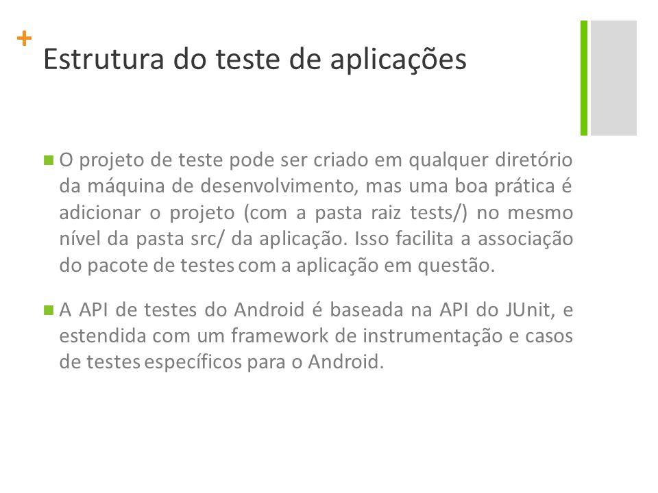 + Estrutura do teste de aplicações O JUnit pode ser usado para planejar um objeto em Java puro.