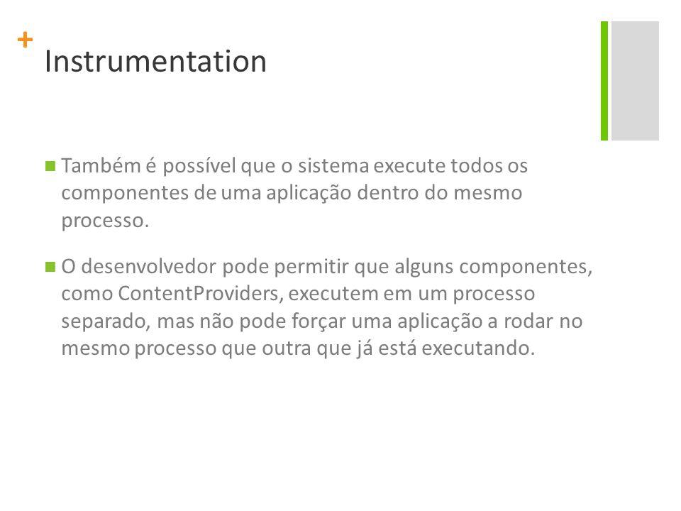+ Instrumentation Com a instrumentação do Android métodos de call-back podem ser invocados diretamente no código de teste.