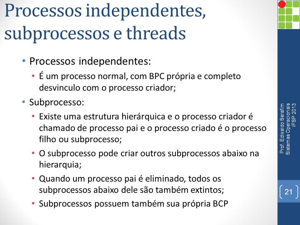 Processos independentes, subprocessos e threads Processos independentes: É um processo normal, com BPC própria e completo desvinculo com o processo cr