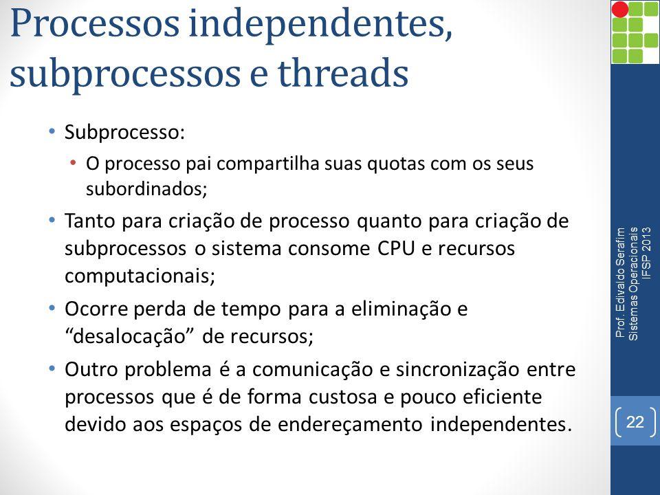 Processos independentes, subprocessos e threads Subprocesso: O processo pai compartilha suas quotas com os seus subordinados; Tanto para criação de pr
