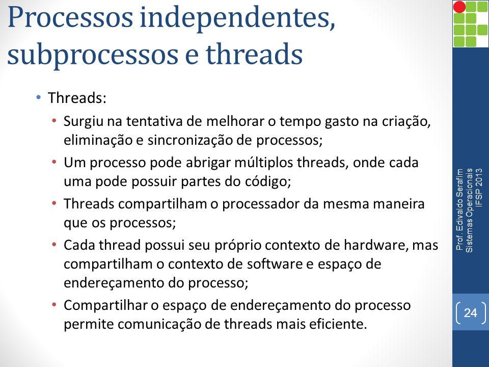 Processos independentes, subprocessos e threads Threads: Surgiu na tentativa de melhorar o tempo gasto na criação, eliminação e sincronização de proce