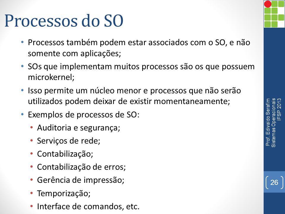 Processos do SO Processos também podem estar associados com o SO, e não somente com aplicações; SOs que implementam muitos processos são os que possue