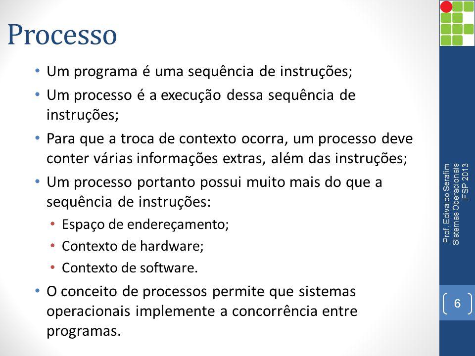 Processo Um programa é uma sequência de instruções; Um processo é a execução dessa sequência de instruções; Para que a troca de contexto ocorra, um pr