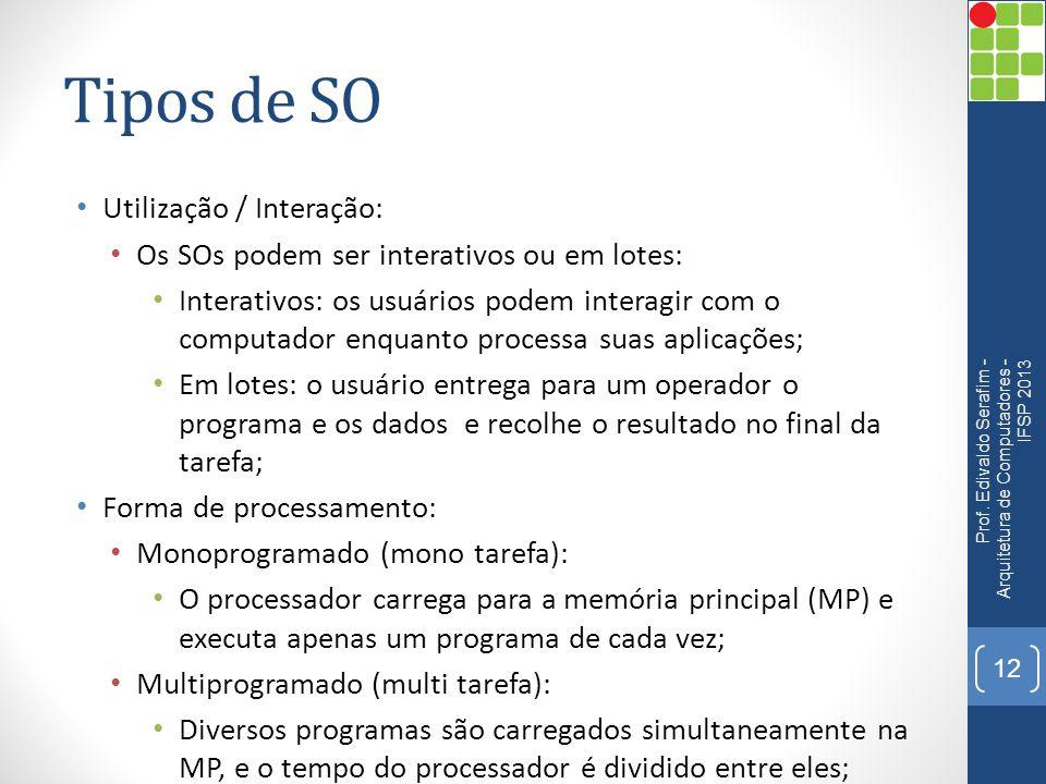 Tipos de SO Utilização / Interação: Os SOs podem ser interativos ou em lotes: Interativos: os usuários podem interagir com o computador enquanto processa suas aplicações; Em lotes: o usuário entrega para um operador o programa e os dados e recolhe o resultado no final da tarefa; Forma de processamento: Monoprogramado (mono tarefa): O processador carrega para a memória principal (MP) e executa apenas um programa de cada vez; Multiprogramado (multi tarefa): Diversos programas são carregados simultaneamente na MP, e o tempo do processador é dividido entre eles; Prof.