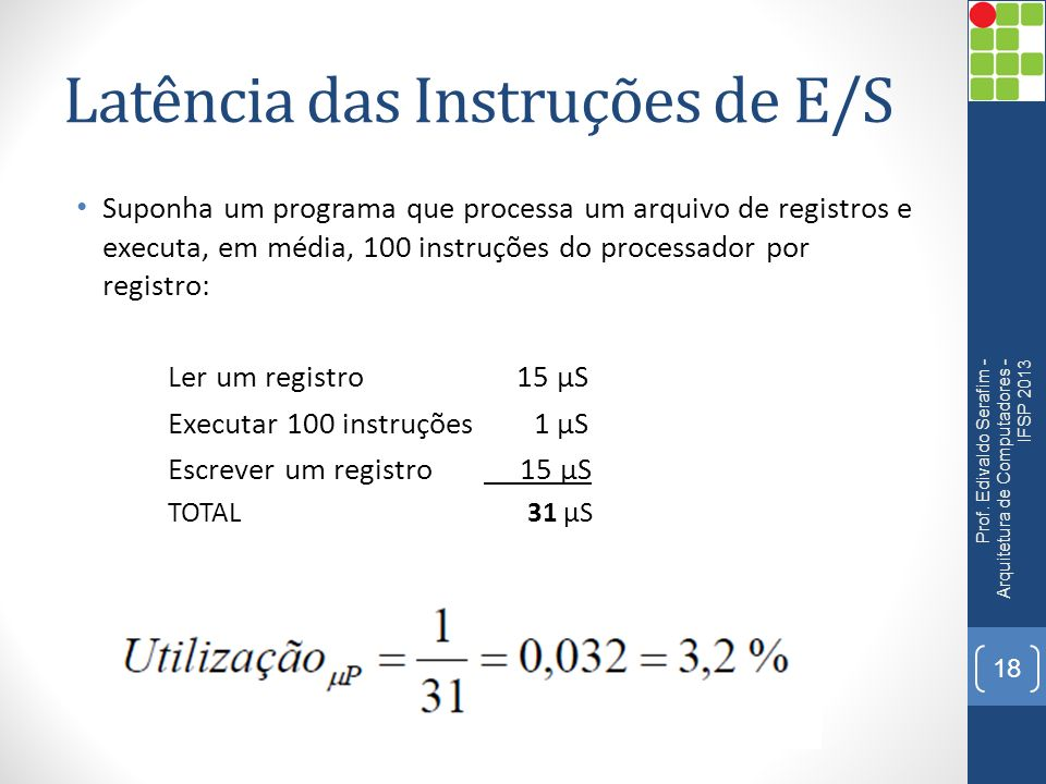 Latência das Instruções de E/S Suponha um programa que processa um arquivo de registros e executa, em média, 100 instruções do processador por registro: Ler um registro 15 µS Executar 100 instruções 1 µS Escrever um registro 15 µS TOTAL 31 µS Prof.