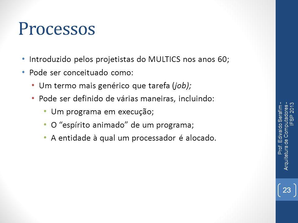 Processos Introduzido pelos projetistas do MULTICS nos anos 60; Pode ser conceituado como: Um termo mais genérico que tarefa (job); Pode ser definido de várias maneiras, incluindo: Um programa em execução; O espírito animado de um programa; A entidade à qual um processador é alocado.