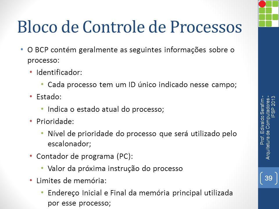 Bloco de Controle de Processos O BCP contém geralmente as seguintes informações sobre o processo: Identificador: Cada processo tem um ID único indicado nesse campo; Estado: Indica o estado atual do processo; Prioridade: Nível de prioridade do processo que será utilizado pelo escalonador; Contador de programa (PC): Valor da próxima instrução do processo Limites de memória: Endereço Inicial e Final da memória principal utilizada por esse processo; Prof.