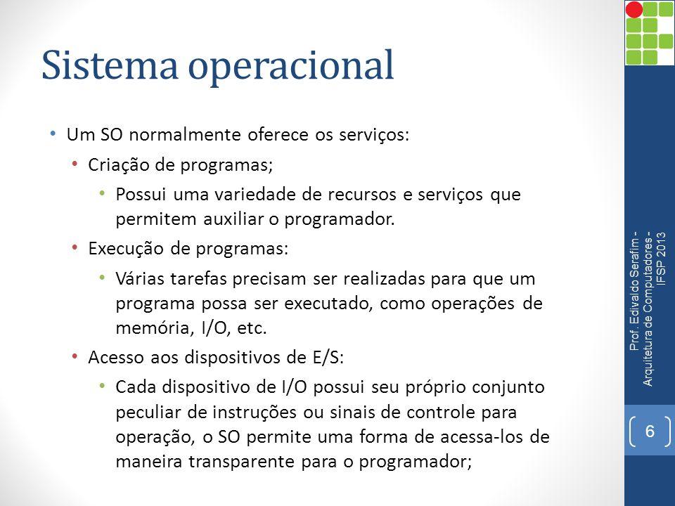 Sistema operacional Um SO normalmente oferece os serviços: Criação de programas; Possui uma variedade de recursos e serviços que permitem auxiliar o programador.