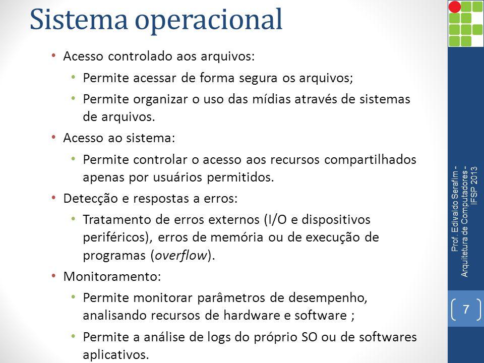 Sistema operacional Acesso controlado aos arquivos: Permite acessar de forma segura os arquivos; Permite organizar o uso das mídias através de sistemas de arquivos.