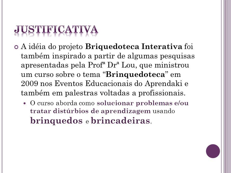 A idéia do projeto Briquedoteca Interativa foi também inspirado a partir de algumas pesquisas apresentadas pela Profª Drª Lou, que ministrou um curso sobre o tema Brinquedoteca em 2009 nos Eventos Educacionais do Aprendaki e também em palestras voltadas a profissionais.