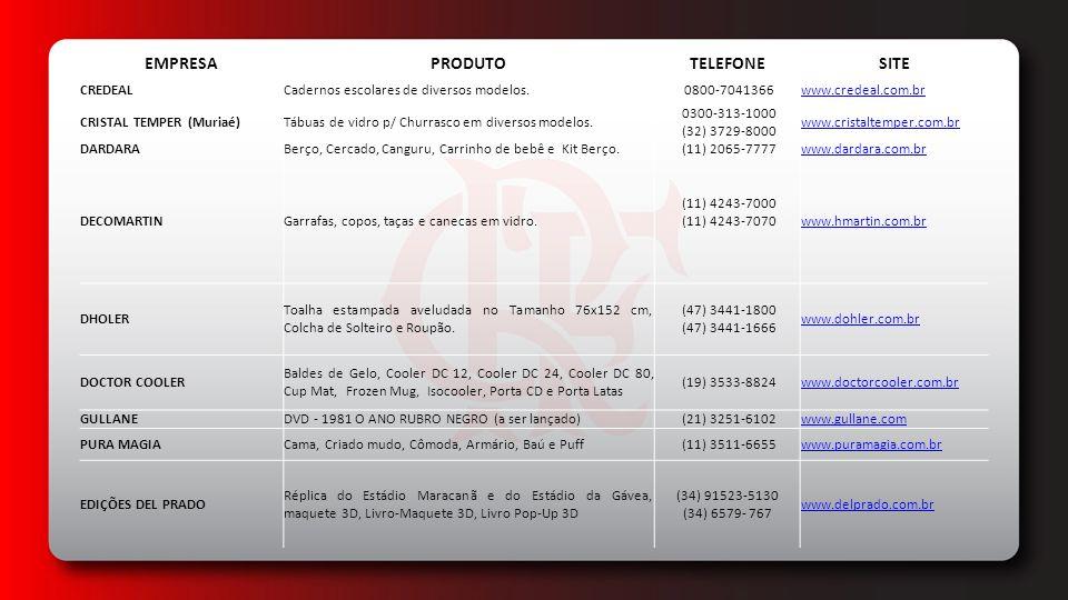 EDITORA BELAS-LETRAS LTDALivro - Pop up e Livro Meu Pequeno Rubro-Negro (54) 3025-3887 www.belasletras.com.br EDITORA GLOBO Livro Flamengo Rei do Rio: A história de cada um dos 31 títulos cariocas, dos cinco brasileiros da libertadores e do mundial. 4003-9393 http://editora.globo.com/ EDITORA GLOBO/ GLOBO MARCASDVD Hexacampeão Brasileiro 2009 e Flamengo Hexa -100 anos de Futebol 4003-9394 http://editora.globo.com/ EDITORA LEITURALivros: O Time do meu coração , Uma vez Flamengo Sempre Flamengo e Meu Maior Prazer (31) 3379-0620 www.editoraleitura.com.br EDITORA MAQUINÁRIALivro 1981 e Cem Anos de Bola, Raça e Paixa (21) 2578-0405www.maquinariaeditora.com.br ELETRÔNIC ARTSJogo nominado FIFA para diversas plataformas (11) 3046-3724 (11) 5505-3713 ELF COMÉRCIO DE BRINDES LTDA - ME Chaveiros nos modelos jogador (prateado e dourado), camisa (prateado e dourado),chuteira, redondo, giratório, aro giratório, bola de futebol, gota, duas argolas, cortador de unha, redondo base couro, abridor pezinho, abridor três funções,oval relevo, esmaltado com brasão (prateado e dourado), isqueiros tipo Zippo, bottons (pins), cordão motoboy, boné, prancha de surf, camisa com correntinha, retangular, alpinista, aço inox, sandália, retangular giratório, pebolim, coração do torcedor, cordão de pescoço em aço inox (prateado e dourado).