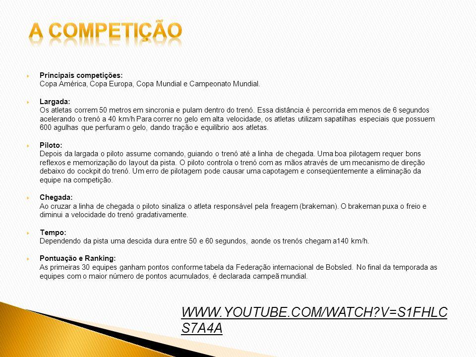 Principais competições: Copa América, Copa Europa, Copa Mundial e Campeonato Mundial. Largada: Os atletas correm 50 metros em sincronia e pulam dentro