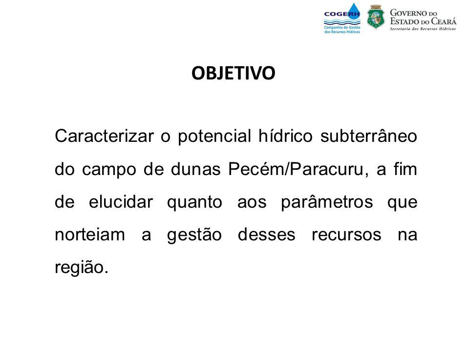 OBJETIVO Caracterizar o potencial hídrico subterrâneo do campo de dunas Pecém/Paracuru, a fim de elucidar quanto aos parâmetros que norteiam a gestão