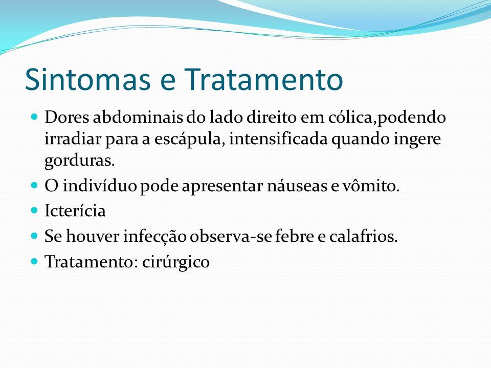 Sintomas e Tratamento Dores abdominais do lado direito em cólica,podendo irradiar para a escápula, intensificada quando ingere gorduras. O indivíduo p