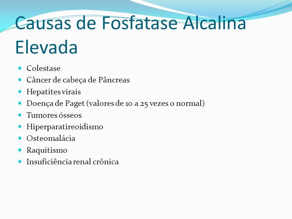 Causas de Fosfatase Alcalina Elevada Colestase Câncer de cabeça de Pâncreas Hepatites virais Doença de Paget (valores de 10 a 25 vezes o normal) Tumor