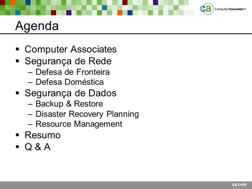ca.com Agenda Computer Associates Segurança de Rede –Defesa de Fronteira –Defesa Doméstica Segurança de Dados –Backup & Restore –Disaster Recovery Planning –Resource Management Resumo Q & A