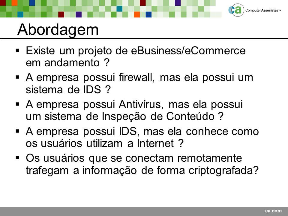ca.com Abordagem Existe um projeto de eBusiness/eCommerce em andamento .