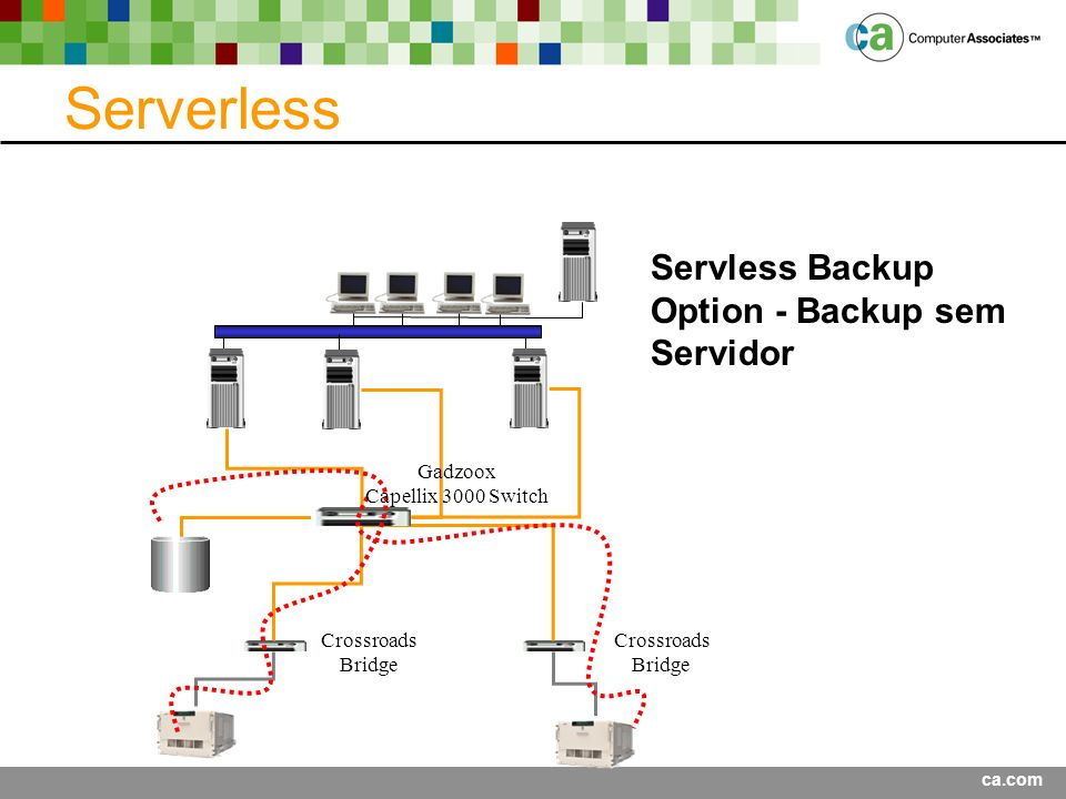 ca.com Serverless Servless Backup Option - Backup sem Servidor Crossroads Bridge Crossroads Bridge Gadzoox Capellix 3000 Switch