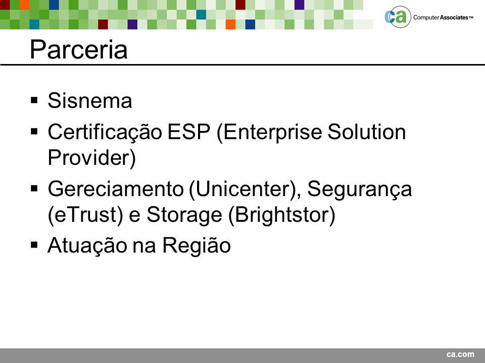 ca.com Parceria Sisnema Certificação ESP (Enterprise Solution Provider) Gereciamento (Unicenter), Segurança (eTrust) e Storage (Brightstor) Atuação na Região