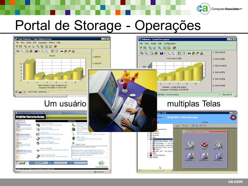 ca.com Portal de Storage - Operações Um usuário multiplas Telas
