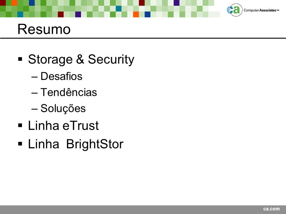 ca.com Resumo Storage & Security –Desafios –Tendências –Soluções Linha eTrust Linha BrightStor