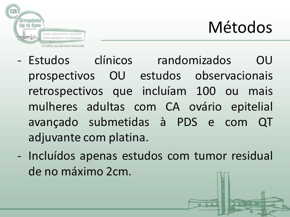 Métodos -Estudos clínicos randomizados OU prospectivos OU estudos observacionais retrospectivos que incluíam 100 ou mais mulheres adultas com CA ovário epitelial avançado submetidas à PDS e com QT adjuvante com platina.