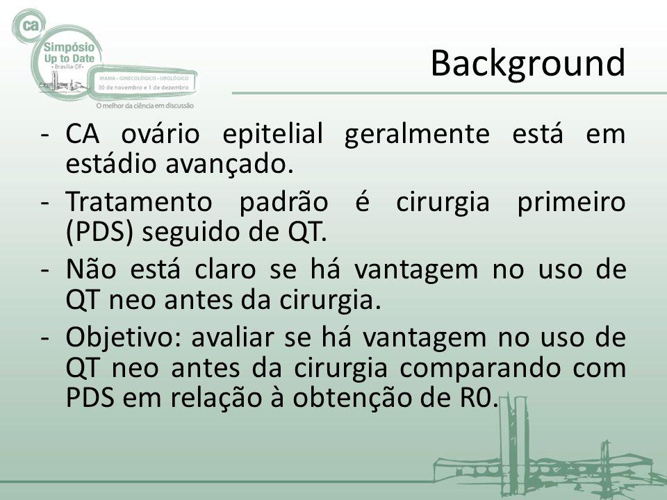 Background -CA ovário epitelial geralmente está em estádio avançado.