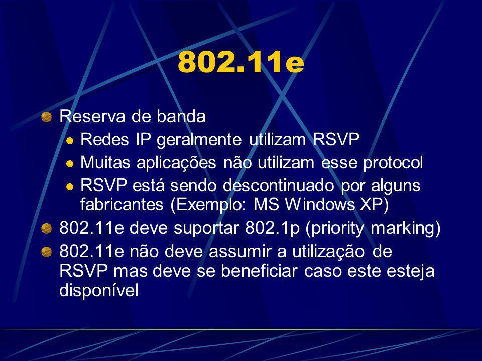 802.11e Reserva de banda Redes IP geralmente utilizam RSVP Muitas aplicações não utilizam esse protocol RSVP está sendo descontinuado por alguns fabri