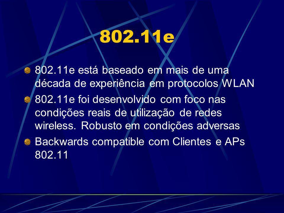 802.11e 802.11e está baseado em mais de uma década de experiência em protocolos WLAN 802.11e foi desenvolvido com foco nas condições reais de utilizaç