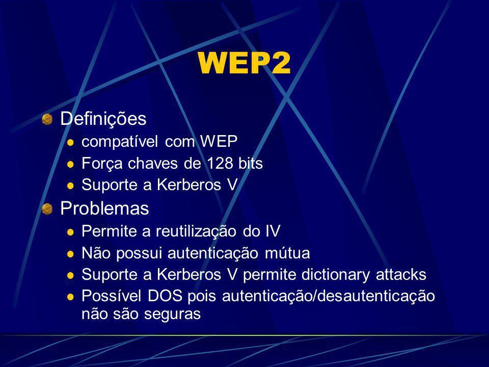 WEP2 Definições compatível com WEP Força chaves de 128 bits Suporte a Kerberos V Problemas Permite a reutilização do IV Não possui autenticação mútua