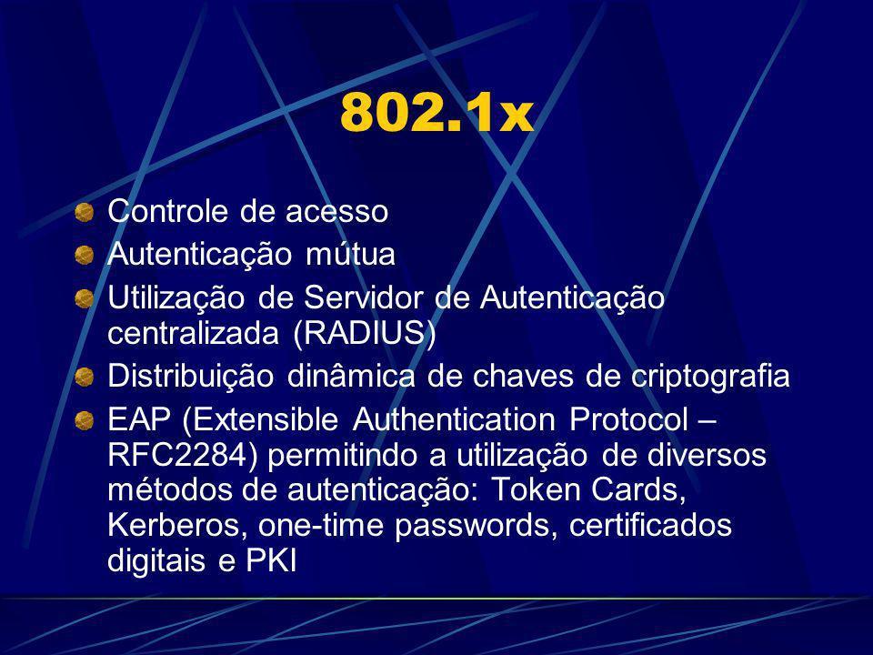 802.1x Controle de acesso Autenticação mútua Utilização de Servidor de Autenticação centralizada (RADIUS) Distribuição dinâmica de chaves de criptogra