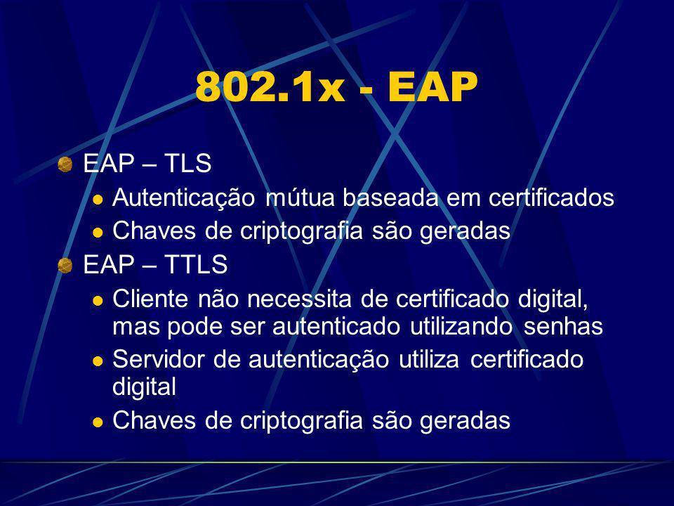 802.1x - EAP EAP – TLS Autenticação mútua baseada em certificados Chaves de criptografia são geradas EAP – TTLS Cliente não necessita de certificado d
