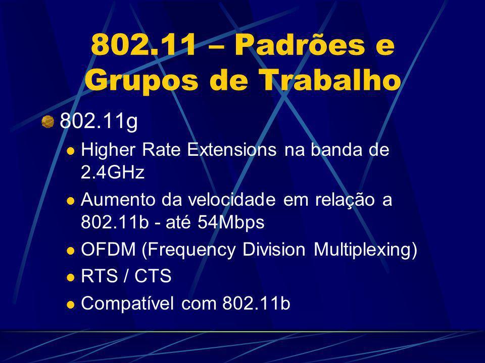 802.11 – Padrões e Grupos de Trabalho 802.11g Higher Rate Extensions na banda de 2.4GHz Aumento da velocidade em relação a 802.11b - até 54Mbps OFDM (