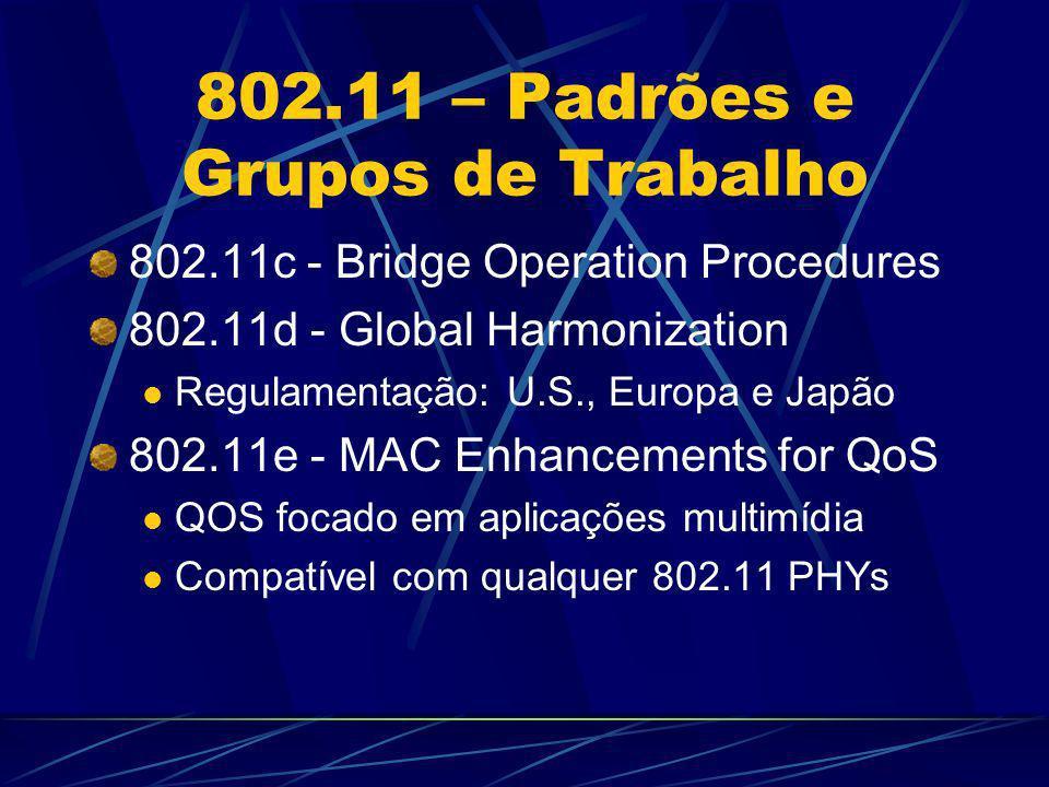 802.11 – Padrões e Grupos de Trabalho 802.11f - Inter Access Point Protocol (IAPP) Roaming entre Access Points APs de fabricantes diferentes podem não operar em conjunto 802.11h - Spectrum Managed 802.11a Seleção dinâmica de canais (Europa) 802.11i - MAC Enhancements for Enhanced Security Resolução de problemas relativos ao WEP Incorpora o 802.1x e técnicas avançadas de criptografia