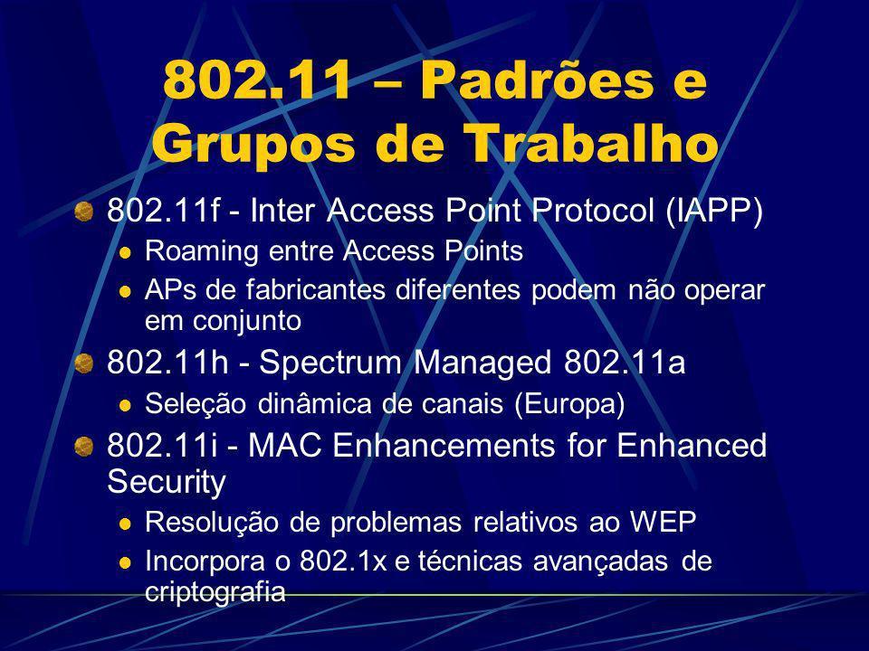 WEP Como funciona o WEP Shared Secret (WEP Key) – 40/104 bits Criptografia RC4 stream cipher (simétrica) do payload dos pacotes 802.11 (corpo + CRC) Seed = Shared Secret + Randon 24 bit (IV) IV muda para cada pacote (sequêncial ou randômico dependendo da implementação) IV é enviado em clear text no cabeçalho do pacote 802.11