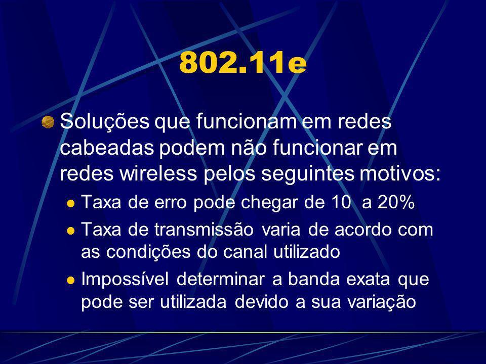802.11e Soluções que funcionam em redes cabeadas podem não funcionar em redes wireless pelos seguintes motivos: Taxa de erro pode chegar de 10 a 20% T