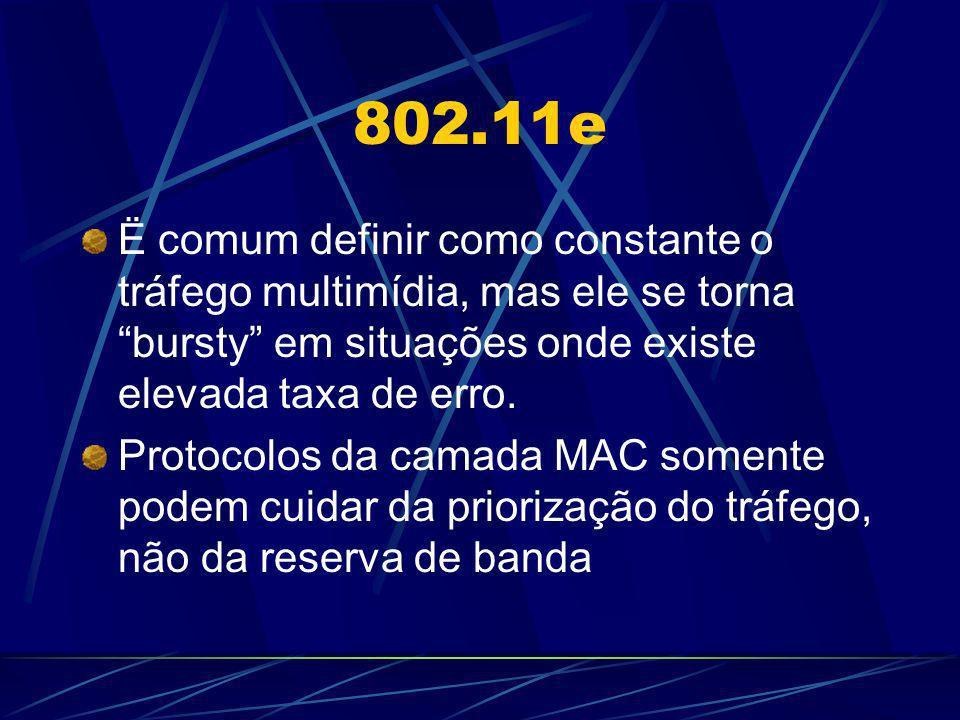 802.11e Reserva de banda Redes IP geralmente utilizam RSVP Muitas aplicações não utilizam esse protocol RSVP está sendo descontinuado por alguns fabricantes (Exemplo: MS Windows XP) 802.11e deve suportar 802.1p (priority marking) 802.11e não deve assumir a utilização de RSVP mas deve se beneficiar caso este esteja disponível