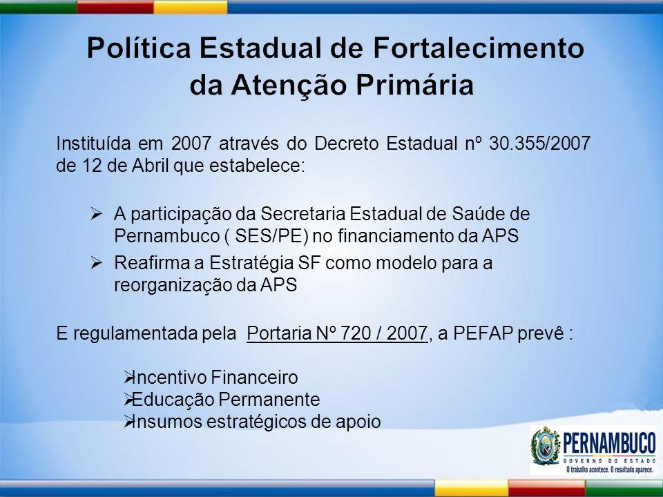 Instituída em 2007 através do Decreto Estadual nº 30.355/2007 de 12 de Abril que estabelece: A participação da Secretaria Estadual de Saúde de Pernambuco ( SES/PE) no financiamento da APS Reafirma a Estratégia SF como modelo para a reorganização da APS E regulamentada pela Portaria Nº 720 / 2007, a PEFAP prevê : Incentivo Financeiro Educação Permanente Insumos estratégicos de apoio