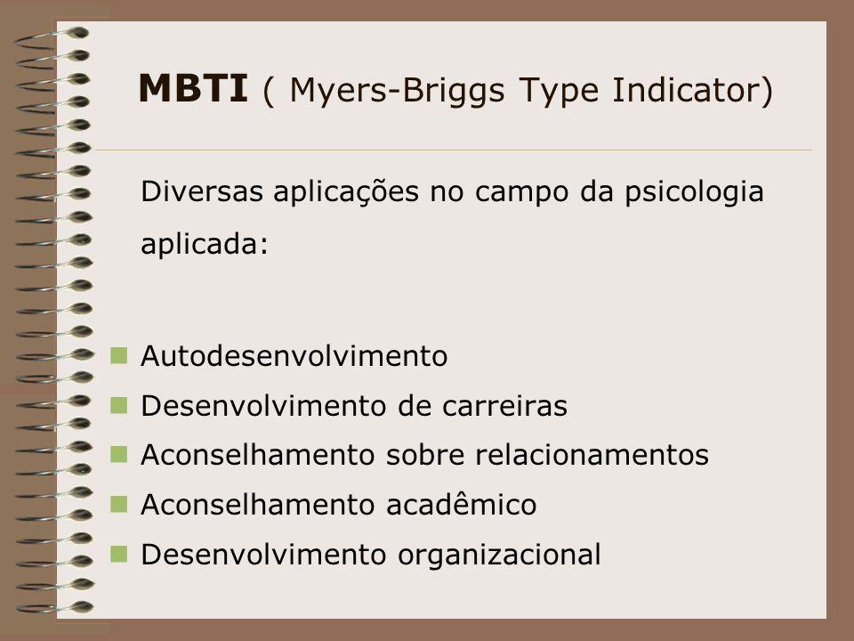 MBTI ( Myers-Briggs Type Indicator) Diversas aplicações no campo da psicologia aplicada: Autodesenvolvimento Desenvolvimento de carreiras Aconselhamento sobre relacionamentos Aconselhamento acadêmico Desenvolvimento organizacional