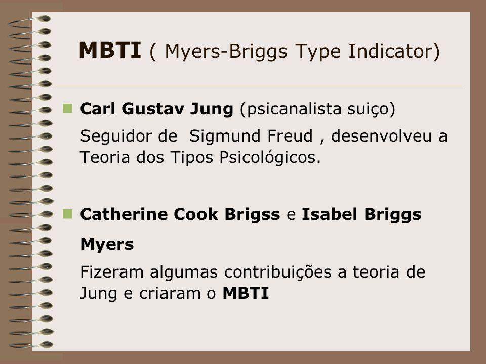 MBTI ( Myers-Briggs Type Indicator) Carl Gustav Jung (psicanalista suiço) Seguidor de Sigmund Freud, desenvolveu a Teoria dos Tipos Psicológicos.