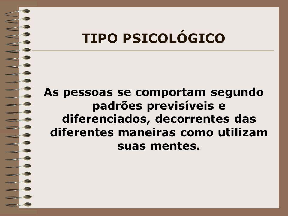 TIPO PSICOLÓGICO As pessoas se comportam segundo padrões previsíveis e diferenciados, decorrentes das diferentes maneiras como utilizam suas mentes.