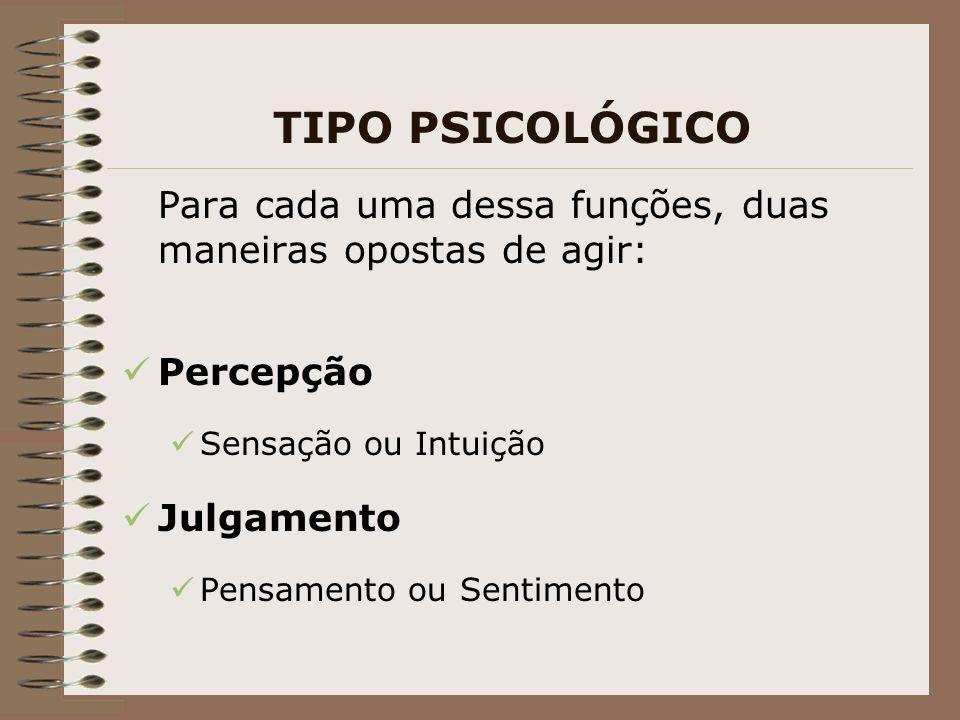 TIPO PSICOLÓGICO Para cada uma dessa funções, duas maneiras opostas de agir: Percepção Sensação ou Intuição Julgamento Pensamento ou Sentimento